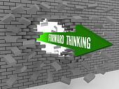 Arrow with words Forward Thinking