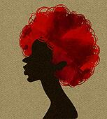 African woman in profile, applique work