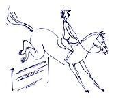Equestrian sport - show jumping. Jockey riding a horse. Hand-drawn