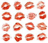 Red lipstick kiss. Isolated on white background