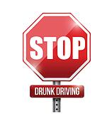 stop drunk driving road sign illustration