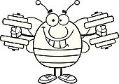 Outlined Bee With Dumbbells