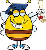 Bee Graduate Holding Up A Diploma