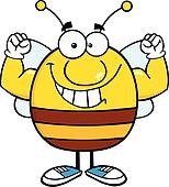 Pudgy Bee Showing Muscle Arms
