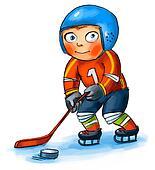 Boy playing hockey. Hand-drawn