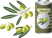 green olive branch and bank of green olives