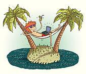 Global village cartoon with satisfied teenager on deserted islan