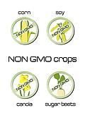 Non GMO crops set of signs