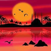 Beautiful camel trip silhouettes