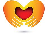 Hands with a red heart logo
