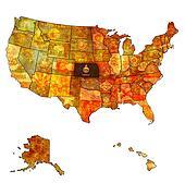 kansas on map of usa