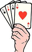 hand holding playing card