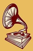 gramophone with horn speaker