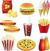 fast food meals vector set