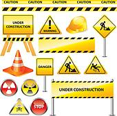 warning and under construction signs