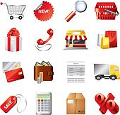 shopping icons detailed vector set