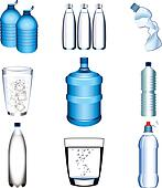 water bottle and glasses vector set