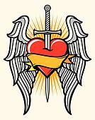 heart, sword and wings