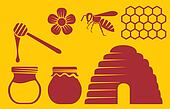 bee and honey icons