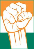 india fist (flag of india)