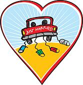 Just married on car driving
