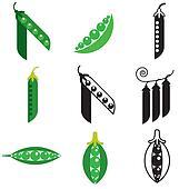 peas beans icons set