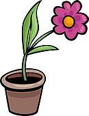 flower in pot clip art cartoon illustration