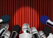 Microphones and Red Curtain