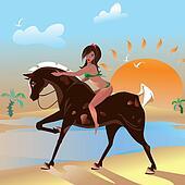 Walk on horseback at sea