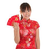 Chinese cheongsam girl showing red packets