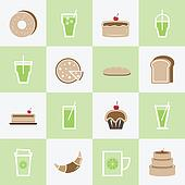 Set of bakery and lemonade elements for coffee shop