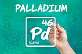 Symbol for the chemical element palladium
