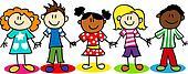 Stick figure ethnic diversity kids