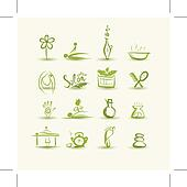 Massage and spa, set of icons for your design
