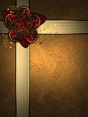 Beautiful gold Background with red gift bow and gold ribbons.