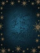 Blue Background with snowflakes on the edges and gold name plate for writing. Template for Christmas background.