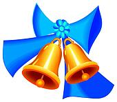 Golden Christmass bells with ribbon