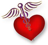 Pierced heart with the Medical symbol