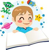 Boy Reading Science Fiction Book