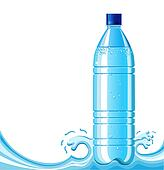 Bottle of clean water and splashing background .Vector illustration