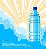 Bottle of water background with sunlight.Vector illustration for