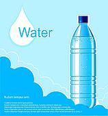 Bottle of clean water background.Vector illustration for text