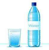 Bottle of clean water and glass on white background .Vector illu