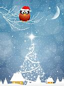 Owl with Christmas hat