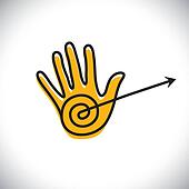 outline of hand icon(sign) with arrow - concept vector graphic.