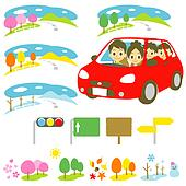Family in a car, driving