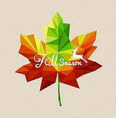 Autumn fall season text triangle leaf shape EPS10 file backgroun