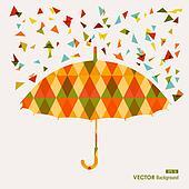 Fall season triangle composition umbrella EPS10 file background.