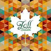 Autumn leaf text with triangles background. EPS10 file.
