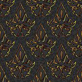 seamless floral damask black, gold background